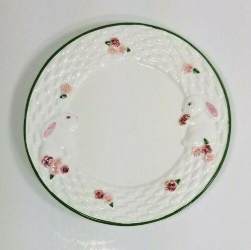 "Avon Bunny 7"" Ceramic Dessert Plate Pink Easter Bunny Basket Weave Motif"
