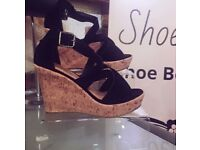Joblot Black Cork Wedges