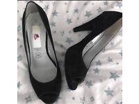 C black suede Lily Allen peep toes heels 7