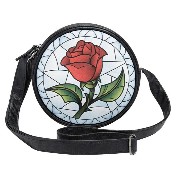Disney Beauty And The Beast Stained Glass Enchanted Rose Crossbody Bag Loungefly