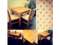 Solid Pine Dining Table & Two Chairs NEXT