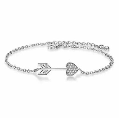 ZARD CZ Pave Arrow and Heart Charm Link Chain Bracelet Sterling Silver Plated