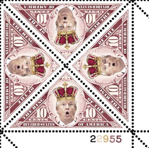Trump - King of the Divided States - RESIST - (Artistamp, Faux Postage, REPRO)
