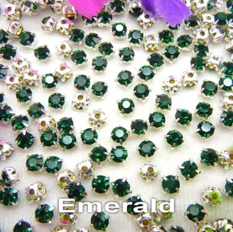 5mm Sew On Crystal Rhinestones 100 pcs SS24 Emerald Green Birthstone May