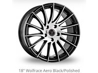 "18"" Wolfrace Aero Black/Polished Alloy Wheels & tyres"