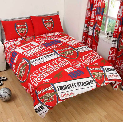 OFFICIAL ARSENAL FC PATCH DOUBLE DUVET COVER SET KIDS ADULTS REVERSIBLE BEDDING  ()