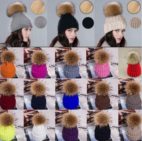 Details about Women Fur Pom Pom Ball Knit Crochet Baggy Bobble Hat Beanie  Beret Ski Cap Warm a81d496cf18c