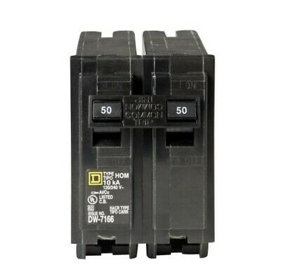 Square D 50 Amp 2 Pole Circuit Breaker Homeline Standard Trip Residential