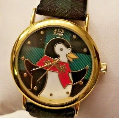 "Women's Penguin Watch Gold Tone 1"" Bessel Green Winter Holiday Gifts Girl Teen"