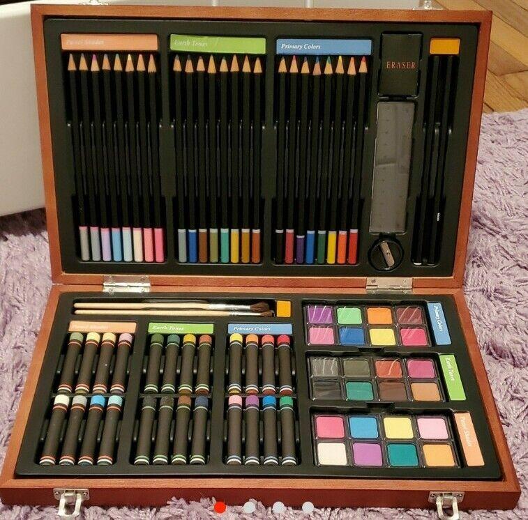 Big Box Art Set - Lot of Pencils, Paint, Pastels - Rainbow Pastel Art Supplies
