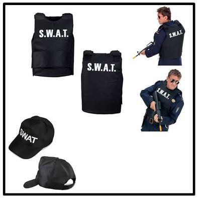 SWAT kugelsichere Weste Kappe Cap Herren Kostüm Agent Polizei Karneval , - Polizei Swat Kostüm