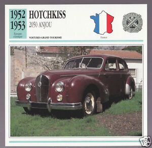 1952-1953-Hotchkiss-2050-Anjou-Berline-Car-Photo-Spec-Sheet-Info-French-Card