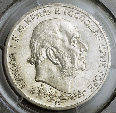 Click now to see the BUY IT NOW Price! 1912 MONTENEGRO KINGDOM NICHOLAS I. LARGE SILVER 5 PERPERA COIN. PCGS MS 61