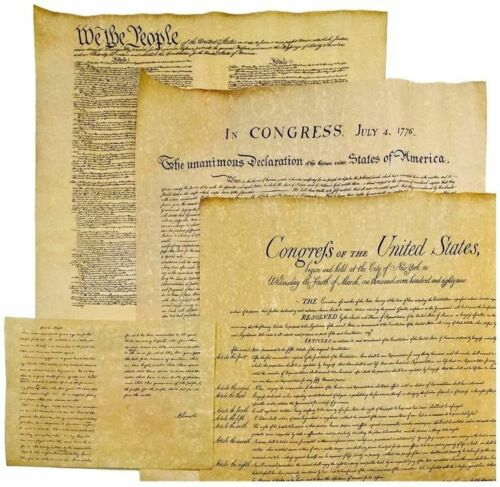 4 DOCS OF FREEDOM CONSTITUTION DECLARATION BILL OF RIGHTS 23 x 29 PARCHMENT NEW