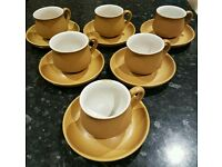 Set of 6 retro Denby cups and saucers