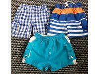 3 x boys shorts age 9-12 months
