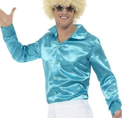 Herren 1970s 70er Jahre Disco Glänzend Shirt Kostüm Blau 1960er 60er von - 1960 Disco Kostüm