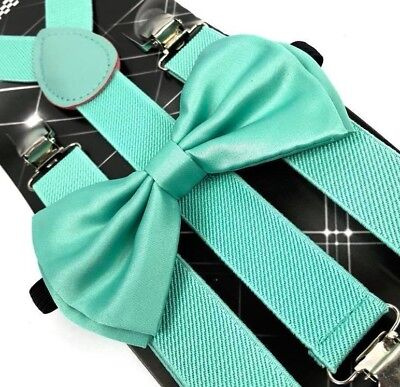 - Teal Color Wedding Party and Events Accessories Bow Tie & Suspenders