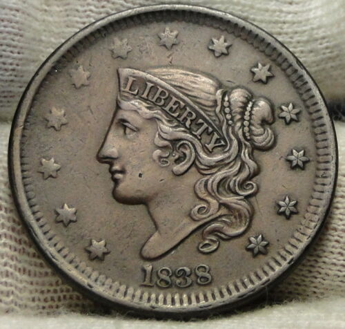 1838 Penny Coronet Large Cent 1C - Nice Coin, Free Shipping  (7786)