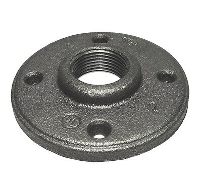 1 Inch Black Malleable Iron Pipe Floor Flange Fittings Plumbing - P6667