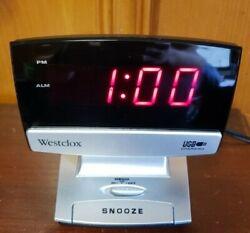 Westclox LED Plasma Screen Alarm Clock With USB Charging Port