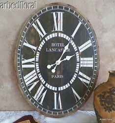 23 Wooden Large Oval Hotel Lancaster Paris Wall Clock