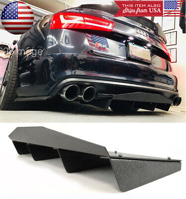 ABS Black Textured Rear Shark Bumper Center Diffuser Fin For Audi 12-18 A6 S6