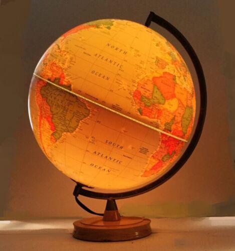 Light up globe.  World globe by George F. Crams.