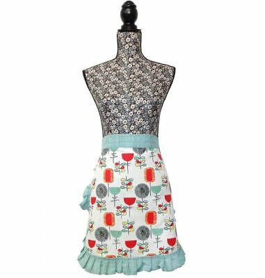 VINTAGE RETRO STYLE 50'S INSPIRED BLUE PINNY COOKING WAIST KITCHEN APRON