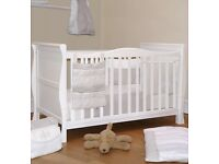 "Solid wooden baby cot 3in1 bed new unused with 3"" mattress and sheet"