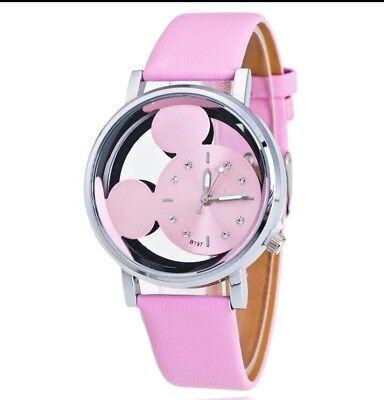 Disney Mickey Mouse Face Watch. Ladies Or Men's. Pink Metallic. BN. Xmas