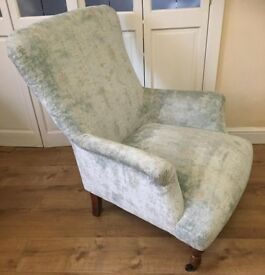 Next Alexis armchair bedroom nursing reading chair distressed velour pale mint