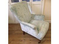 Next Alexis armchair bedroom nursing reading chair distressed velour pale mint