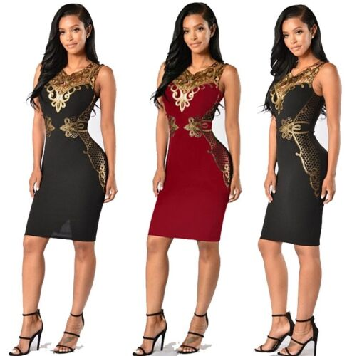 Dress - Women Sexy Bandage Bodycon Floral Evening Party Cocktail Short Mini Dress USA