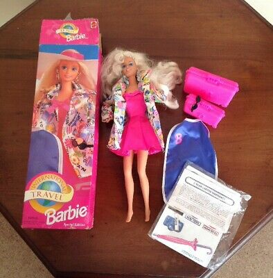 VINTAGE BARBIE International Travel Barbie Special Boxed 1990's Coat Suitcase