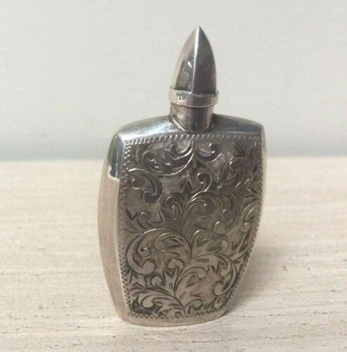 Antique Sterling Silver Perfume / Snuff Bottle with Screwed on Stopper