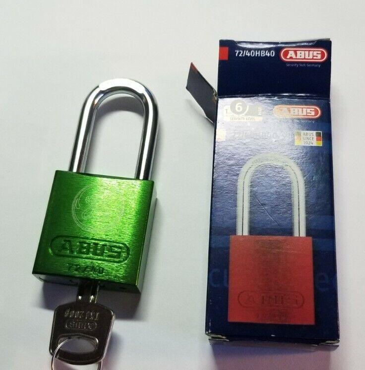 ABUS 72/40 Aluminum Safety Padlock Green Keyed Different lockout tagout locks.