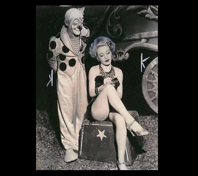 Vintage Creepy Circus Clown Sexy Girl PHOTO Freak Creepy Weird Odd Hot Legs - Hot Clown