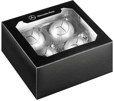 Original MERCEDES BENZ Christmas Tree Ball Glass Silver Star Set of 4 NEW