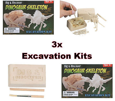 3x Mini Dinosaur Dig Kits - Educational Toy Excavation Site Science Set - New