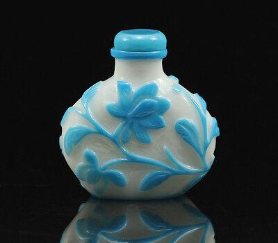 Vintage Chinese Republic Period Peking Milk Glass Blue Overlay Snuff Bottle