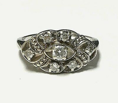 - 14k White Gold Genuine Antique Cluster Set Diamond Swirl Design Ring Size 7.0
