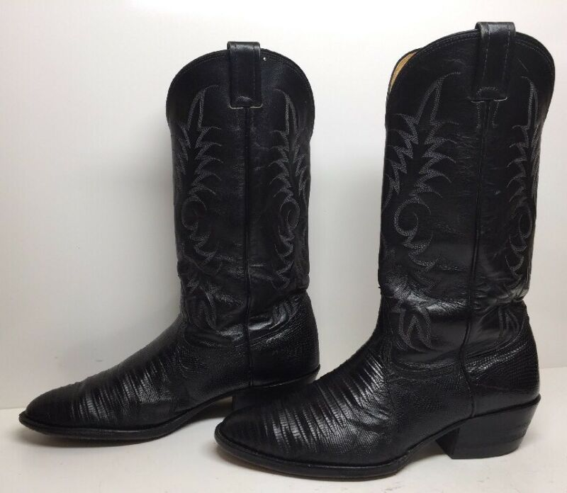 #R, MENS, NOCONA, COWBOY, LIZARD, SKIN, LEATHER, BLACK, BOOTS, SIZE, 9.5, D