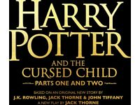 Harry Potter and the cursed child tickets... 4x tickets all for part 1 & part 2