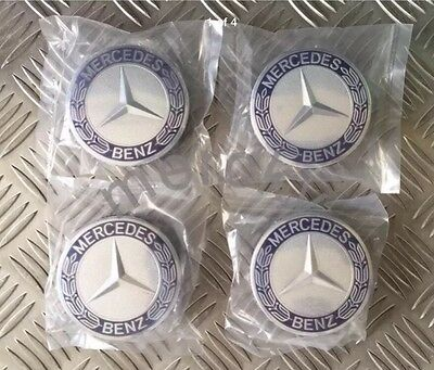 Mercedes Benz Alloy Wheel Centre Caps 75mm Badges Blue Hub Emblem X 4,1 Set