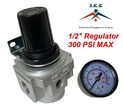 Air Pressure Regulator For Compressed Air 12 With Gauge Wall Mounting Bracket