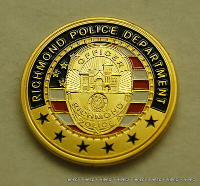 RICHMOND TEXAS POLICE DEPARTMENT Badge Challenge Coin TEXAS OFFICER RANGERS