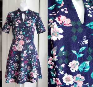 DARK BLUE FLORAL DRESS - brand ONLY from BOUTIQUE 1861 Montreal