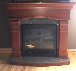 """48"""" cherry and Granite fireplace electric"""