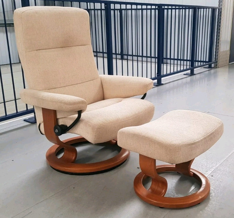 Brilliant Ekornes Stressless Swivel Recliner Fabric Chair And Foot Stool 6919 In Leeds West Yorkshire Gumtree Creativecarmelina Interior Chair Design Creativecarmelinacom